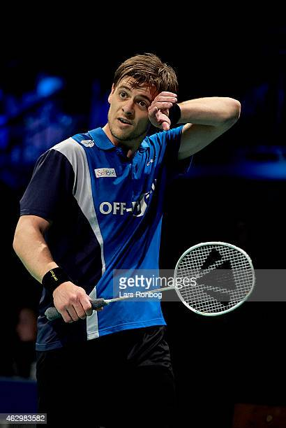 HansKristian Vittinghus looks dejected during the Finals at the Danish Badminton Championships at Frederiksberg Hallen on February 8 2015 in...