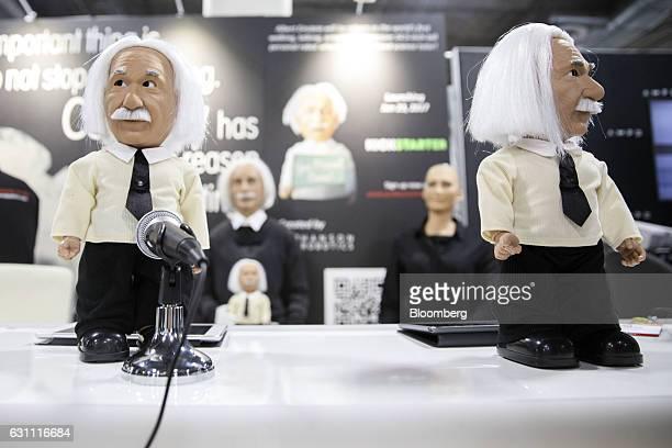 Hanson Robotics Ltd Albert Einstein HUBO humanlike robots speak during the 2017 Consumer Electronics Show in Las Vegas Nevada US on Friday Jan 6 2017...