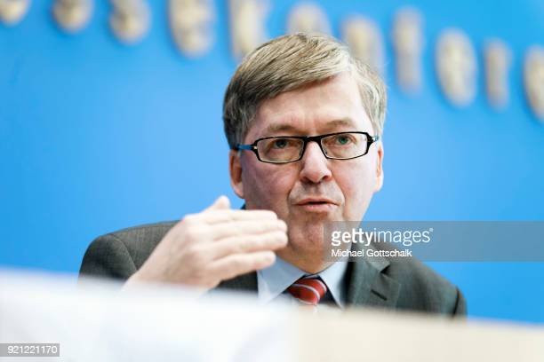 HansPeter Bartels SPD Bundestagappointed Commissioner for the Bundeswehr presents his report for 2017 at federal press conference on February 20 2018...
