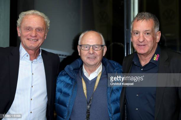 HansPeter Briegel Bernd Hoelzenbein and Eike Immel attend the Club Of Former National Players Meeting at Commerzbank Arena on November 19 2019 in...