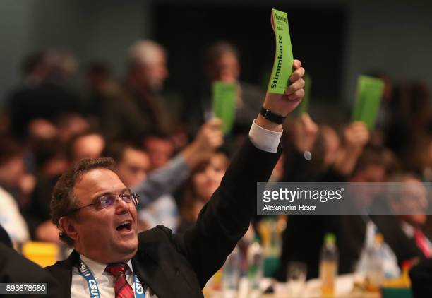 HansPeter Friedrich member of the party board of the German Christian Democrats is pictured at the CSU party congress on December 15 2017 in...