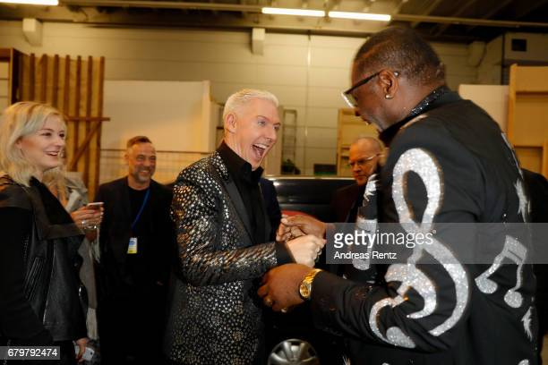 HansPeter Geerdes aka HP Baxxter and 'Superstar 2017' Alphonso Williams attend the after show during the finals of the tv competition 'Deutschland...