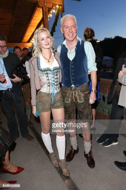 Hans-Peter Geerdes alias H.P. Baxxter, singer of the band 'Scooter' and his girlfriend Lysann Geller during the 'Almauftrieb' as part of the...