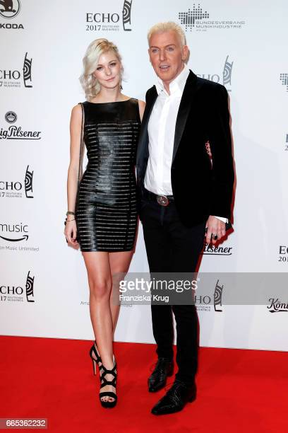 Hans-Peter Geerdes and his girlfriend Lysann Geller attend the Echo award red carpet on April 6, 2017 in Berlin, Germany.