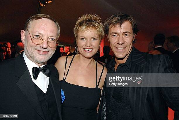 HansPeter Wodarz Carola Ferstl and Sven Martinek attend the birthday party of businessman Hans Rudolf Woehrl at the Palazzo on November 23 2007 in...