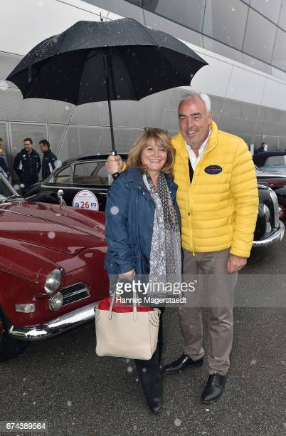 HansReiner Schroeder and Alexandra Schoerghuber Paulaner before the ArabellaClassics Route 2017 starts at BMW World on April 28 2017 in Munich Germany