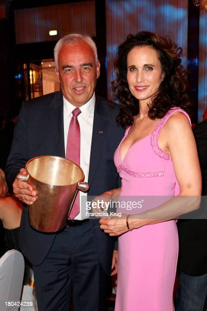 Hans-Reiner Schroeder and Andie MacDowell attend the Dreamball 2013 charity gala at Ritz Carlton on September 12, 2013 in Berlin, Germany.