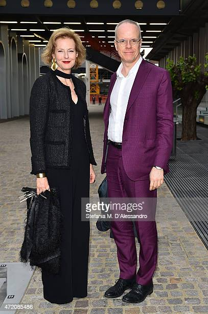 HansUlrich Obrist and Julia PeytonJones attend the Fondazione Prada Opening on May 3 2015 in Milan Italy