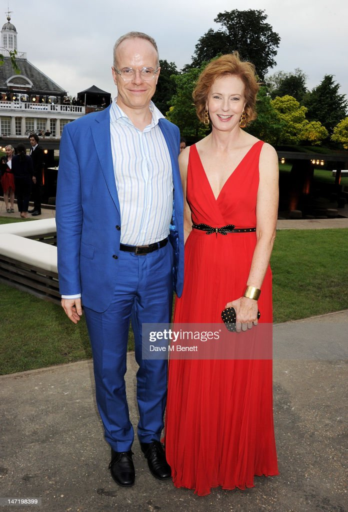 Hans-Ulrich Obrist (L) and Julia Peyton-Jones attend The Serpentine Gallery Summer Party sponsored by Leon Max at The Serpentine Gallery on June 26, 2012 in London, England.
