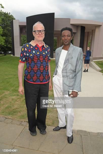 Hans-Ulrich Obrist and Omari Douglas attend a drinks reception celebrating 2021 BFC/GQ Designer Menswear Fund winner Priya Ahluwalia during London...