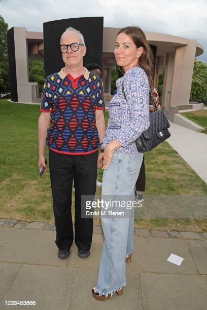 Hans-Ulrich Obrist and Yana Peel attend a drinks reception celebrating 2021 BFC/GQ Designer Menswear Fund winner Priya Ahluwalia during London...