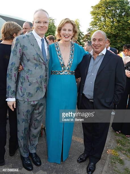 HansUlrich Obrist Julia Peyton Jones and Sir Philip Tracey attend The Serpentine Gallery Summer Party cohosted by Brioni at The Serpentine Gallery on...