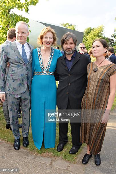 HansUlrich Obrist Julia Peyton Jones Smiljan Radic and Marcela Correa attend The Serpentine Gallery Summer Party cohosted by Brioni at The Serpentine...