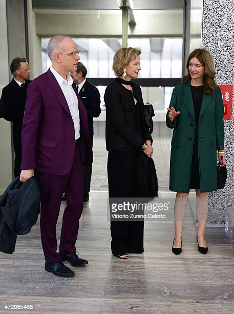 HansUlrich Obrist Julia PeytonJones and Astrid Welter attend the Fondazione Prada Opening on May 3 2015 in Milan Italy