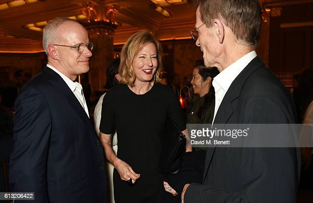 HansUlrich Obrist Julia PeytonJones and Sir Nicholas Serota attend the Frieze Magazine 25th anniversary dinner at Brasserie Zedel on October 7 2016...