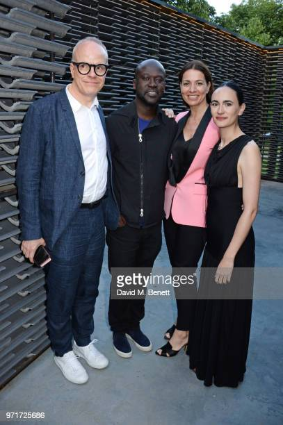 HansUlrich Obrist Sir David Adjaye Yana Peel and Frida Escobedo attend a preopening drinks reception for the Serpentine Pavilion 2018 designed by...