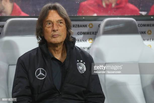 HansWilhlem MuellerWohlfahrt team doctor of Germany looks on during the FIFA 2018 World Cup Qualifier between Germany and Azerbaijan at...