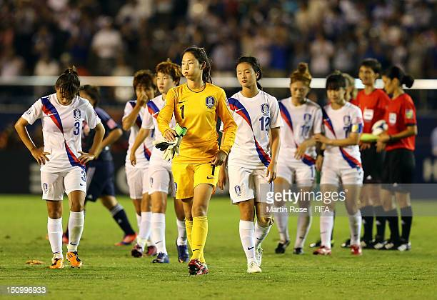 Hanuel Jeon goalkeeper of Korea Republic looks dejected after the FIFA U20 Women's World Cup Japan 2012 Quarter Final match between Japan and Korea...