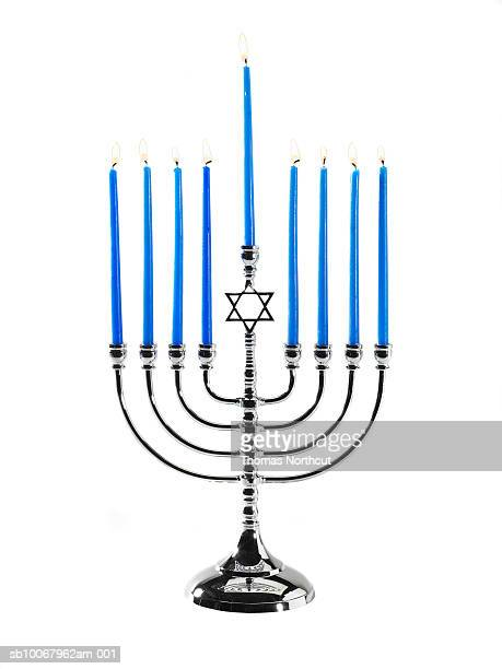hanukah menorah on white background - menorah stock photos and pictures