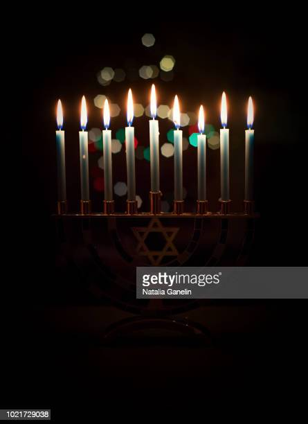 hanukkah candles - hanukkah stock pictures, royalty-free photos & images