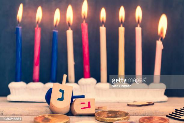 hanukkah celebration composition - hannukkah stock pictures, royalty-free photos & images