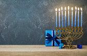 Hanukkah celebration with menorah
