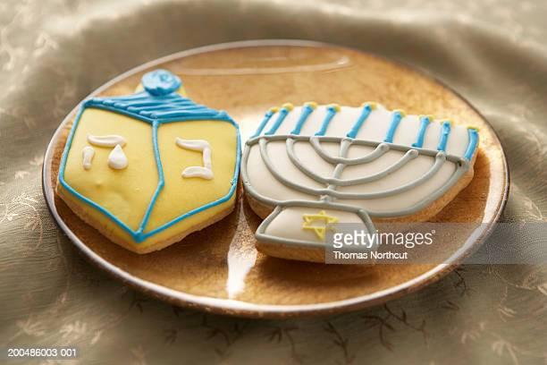 Hanukkah cookies on plate, elevated view