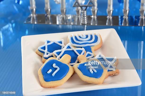 hanukkah cookies - hanukkah stock photos and pictures