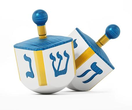 Hanukkah dreidels isolated on white 1140550189