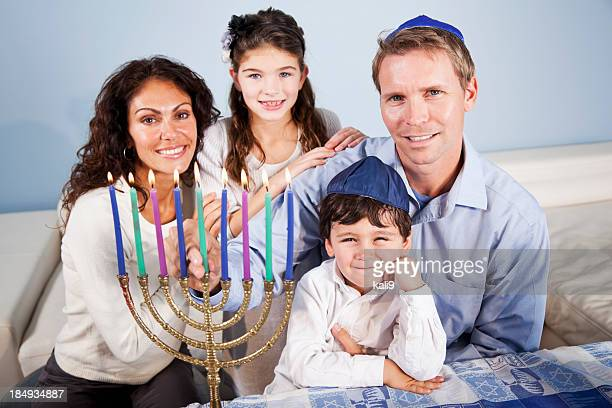 hanukkah family portrait - jewish people stock pictures, royalty-free photos & images