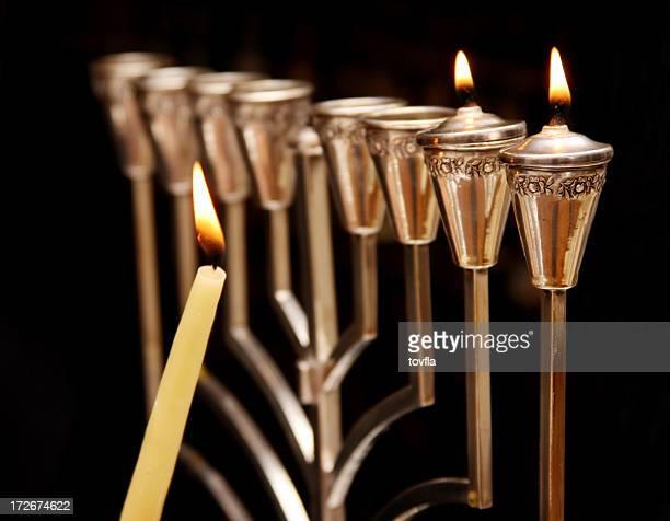 hanukkah menorah - hanukkah stock pictures, royalty-free photos & images
