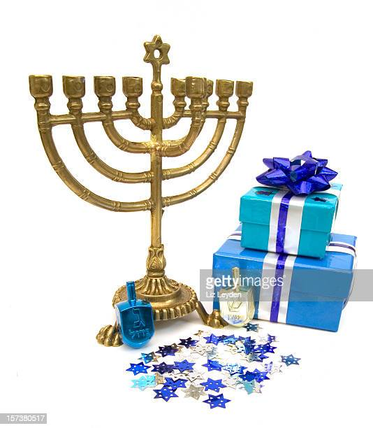 hanukkah still life - dreidel stock photos and pictures