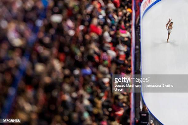 Hanul Kim of Korea competes in the Ladies Free Skating during day two of the World Figure Skating Championships at Mediolanum Forum on March 23 2018...