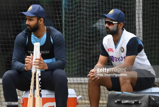 Hanuma Vihari and Ajinkya Rahane of India take a break during a net session at Melbourne Cricket Ground on December 23, 2020 in Melbourne, Australia.
