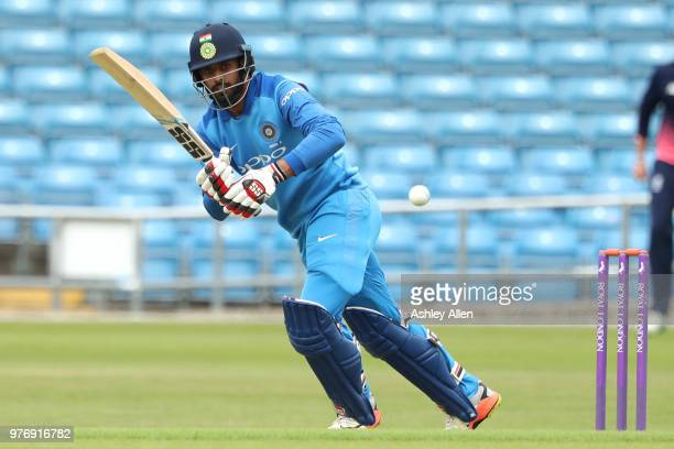 Hanuma Vihari of India A plays the ball onto the onside during a tour match between ECB XI v India A at Headingley on June 17, 2018 in Leeds, England.