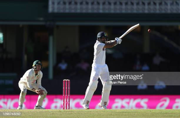 Hanuma Vihari of India bats during day five of the 3rd Test match in the series between Australia and India at Sydney Cricket Ground on January 11,...