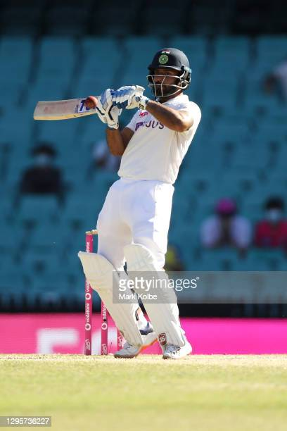 Hanuma Vihari of India bats during day five of the Third Test match in the series between Australia and India at Sydney Cricket Ground on January 11,...