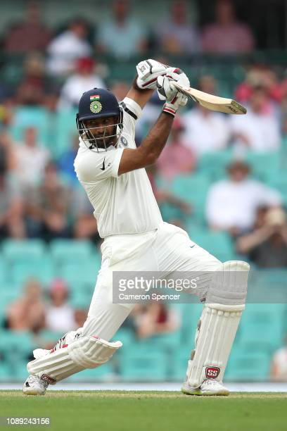 Hanuma Vihari of India bats during day one of the Fourth Test match in the series between Australia and India at Sydney Cricket Ground on January 03,...