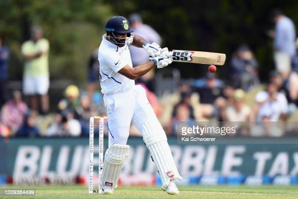 Hanuma Vihari of India bats during day one of the Second Test match between New Zealand and India at Hagley Oval on February 29, 2020 in...