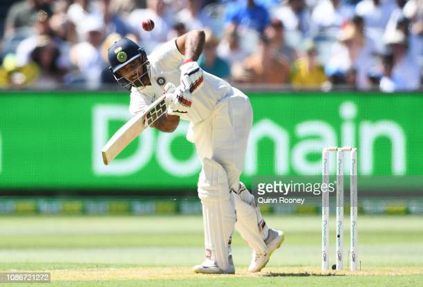 Hanuma Vihari of India bats during day one of the Third Test match in the series between Australia and India at Melbourne Cricket Ground on December...