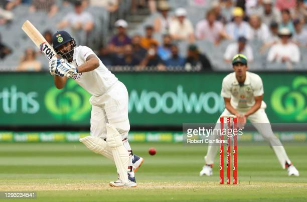 Hanuma Vihari of India bats during day two of the Second Test match between Australia and India at Melbourne Cricket Ground on December 27, 2020 in...