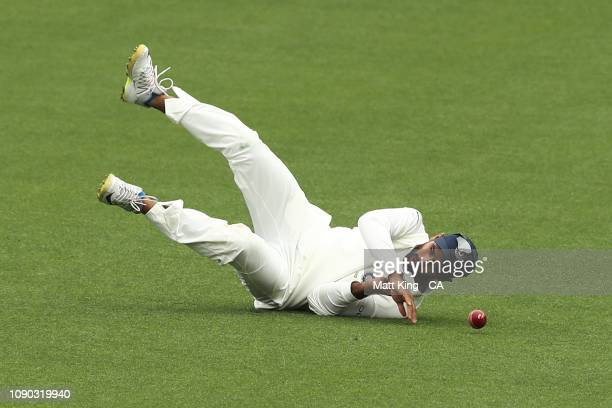 Hanuma Vihari of India drops a catch during day four of the Fourth Test match in the series between Australia and India at Sydney Cricket Ground on...