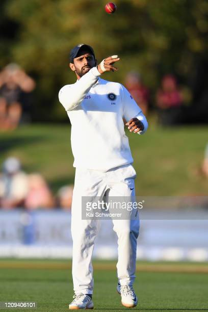 Hanuma Vihari of India fields the ball during day one of the Second Test match between New Zealand and India at Hagley Oval on February 29, 2020 in...