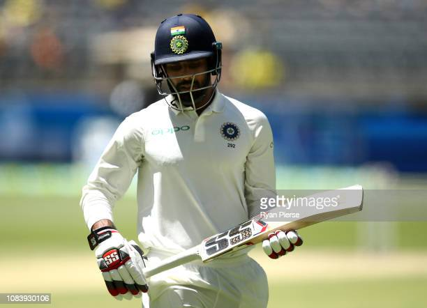 Hanuma Vihari of India looks dejected after being dismissed by Mitchell Starc of Australia during day five of the second match in the Test series...