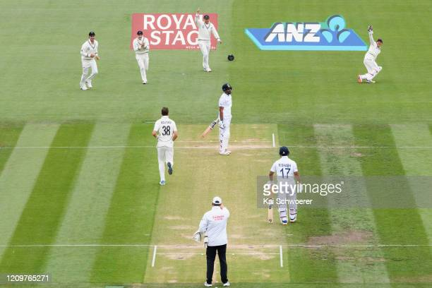 Hanuma Vihari of India looks dejected after being dismissed by Tim Southee of New Zealand during day three of the Second Test match between New...