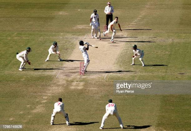 Hanuma Vihari of India plays a ball from Pat Cummins of Australia during day five of the 3rd Test match in the series between Australia and India at...