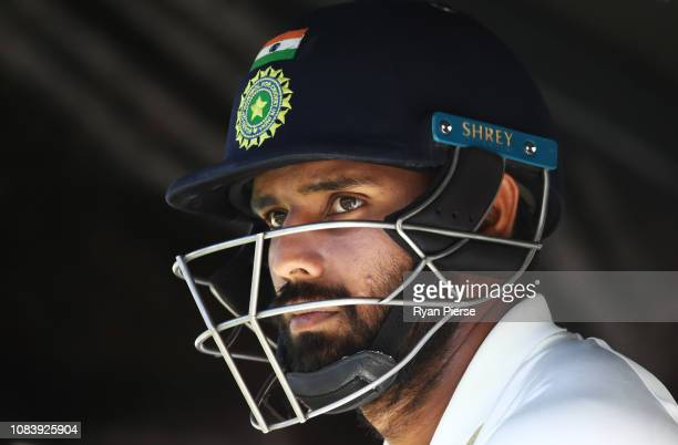 Hanuma Vihari of India prepares to bat during day five of the second match in the Test series between Australia and India at Perth Stadium on...