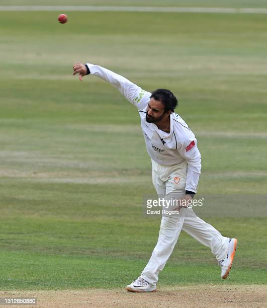 Hanuma Vihari of Warwickshire bowls during the LV=Insurance County Championship match between Nottinghamshire and Warwickshire at Trent Bridge on...