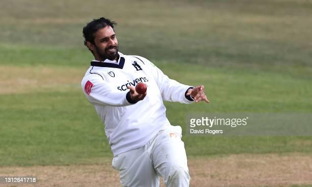 Hanuma Vihari of Warwickshire catches Steven Mullaney during the LV=Insurance County Championship match between Nottinghamshire and Warwickshire at...