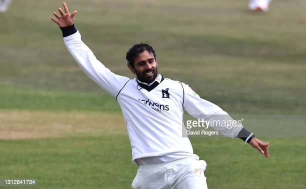Hanuma Vihari of Warwickshire celebrates after catching Steven Mullaney during the LV=Insurance County Championship match between Nottinghamshire and...
